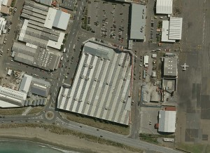 This shows the Warehouse area at a quarter size of the original aerial image.