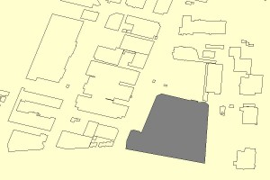 The Warehouse is the shaded footprint.