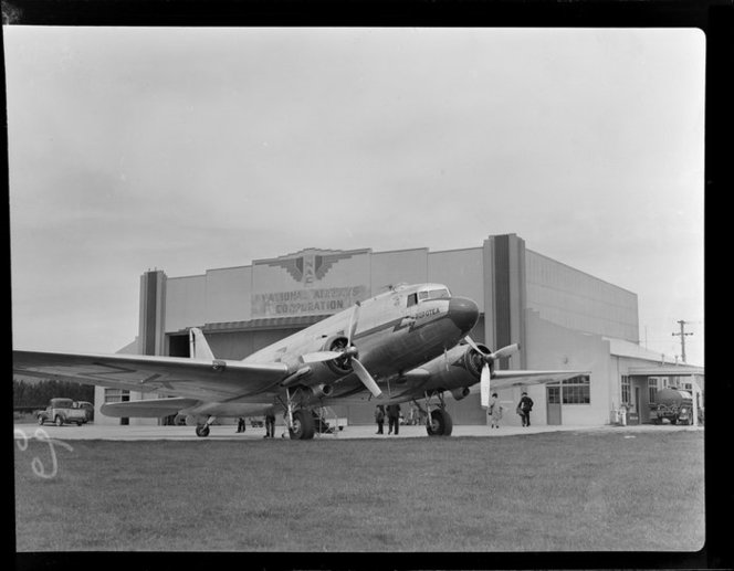 Dakota aircraft Popotea, New Zealand National Airways Corporation, Taieri Aerodrome. Whites Aviation Ltd :Photographs. Ref: WA-10590-F. Alexander Turnbull Library, Wellington, New Zealand.http://natlib.govt.nz/records/23036845